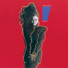 "A young woman poses in front of a red background. She is wearing a long black button-up jacket with matching gloves, pants and headdress. The headdress flips her black hair forward over the right side of her face. To her left is a blue trapezoid that tapers downward, and reads ""Janet Jackson"" above it and ""Control"" below."