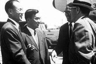 KAIST - Korean representatives and Frederick E. Terman discuss the establishment of the institute.