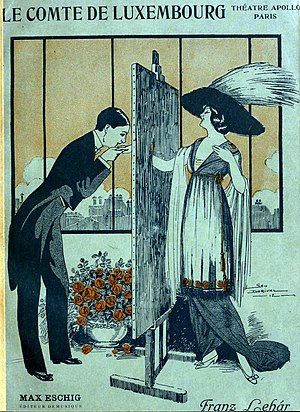 Der Graf von Luxemburg - The wedding of Count René and Angèle depicted on the 1912 French version of the vocal score