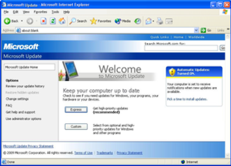 Windows Update - Microsoft Update in Windows XP.