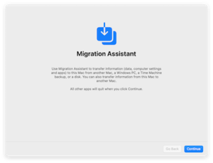 Migration Assistant (Apple) - Image: Migration Assistant basic info screen