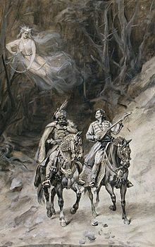 Two men riding together, guarded by a ghostly woman