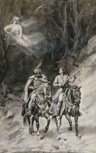 Supernatural beings in Slavic religion - Serbian epic heroes Prince Marko and Miloš Obilić, and the vila Ravijojla