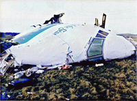 The wreckage of Pan Am Flight 103