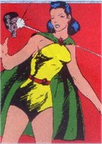 Phantom Lady - Panel from Quality Comics' Police Comics, depicting Phantom Lady's black ray gun