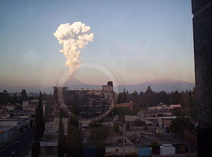 Popocatépetl - Popocatépetl viewed from Puebla, Puebla, January 2004 eruption