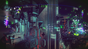 Resogun - In Resogun, the player battles enemies in a cylindrical, voxel-based world. Here, the player fights off enemies coming from both directions as they wait for the next human to be released.