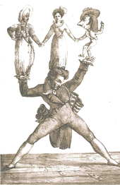 caricature of man struggling to carry three large dolls