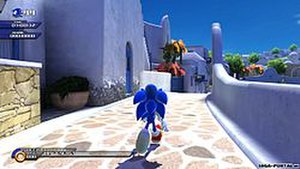 Sonic Unleashed - Third-person gameplay in daytime levels (Apotos, Xbox 360/PS3 version)