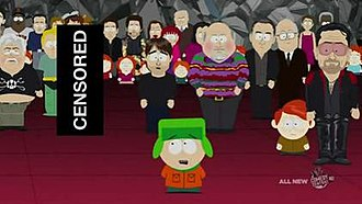 201 (South Park) - Kyle gives a satirical speech about the effectiveness of threats and violence. During the original broadcast and DVD release of the episode the speech is completely obscured with a continuous audio bleep. Muhammad is visually obscured by a black box. Comedy Central was responsible for censoring the audio, drawing heavy criticism from audiences who felt the network did so in response to Muslim violence threats.
