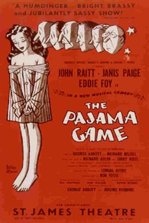 The Pajama Game - Original Broadway Windowcard, illustrated by Peter Arno