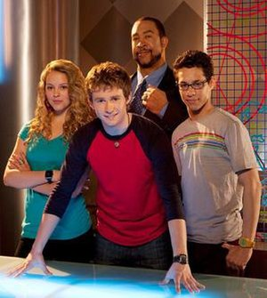 The Troop - The cast of The Troop in the first season (from left to right): Gage Golightly (Hayley), Nicholas Purcell (Jake), John Marshall Jones (Mr. Stockley) and David Del Rio (Felix).
