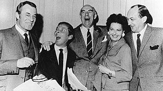 Round the Horne - The cast of Round the Horne, 1968. Left to right: Hugh Paddick, Kenneth Williams, Kenneth Horne, Betty Marsden, Douglas Smith