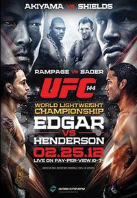A poster or logo for UFC 144: Edgar vs. Henderson.