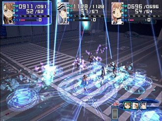Xenosaga Episode I - A battle in Xenosaga Episode I; the party faces off against a group of enemies, with one performing a special ability.
