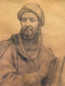 چهره ابوعلیسینا. نقاش: ابوالحسن صدیقی (این تصویر توسط انجمن آثار ملی رسما بهعنوان چهرهٔ اصلی بوعلی سینا شناخته شد.) سیاه قلم روی کاغذ، ۱۳۲۴