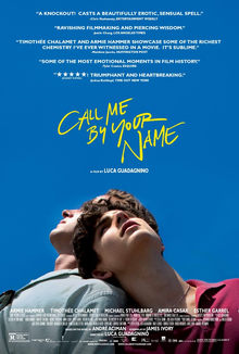 The theatrical release poster for Call Me by Your Name, showing two main characters, Oliver and Elio, leaning on each other's shoulders with the film's tagline above.