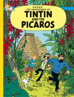 Tintin, Snowy, Haddock, and Calculus are running toward us, into the jungle, with the view of an Aztec pyramid in the background.