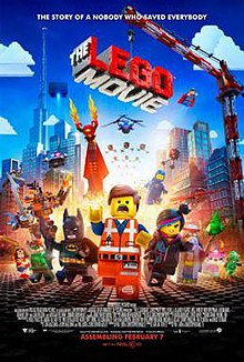 A construction worker Lego figure running away from a bright light, with other Lego characters running alongside him.