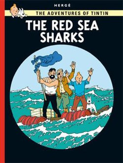 Tintin, Snowy, Haddock, and Skut are on a raft in the Red Sea, waving at us. We are viewing the scene through a telescope.