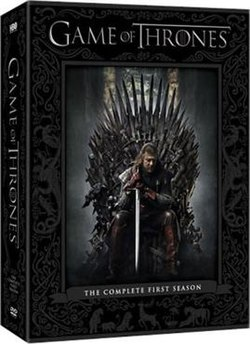 The box cover for the season 1 DVD set depicts Sean Bean as Eddard Stark sitting on the iron throne holding a sword and appearing pensive