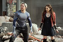 Aaron Taylor-Johnson and Elizabeth Olsen as Quicksilver and Scarlet Witch.jpg