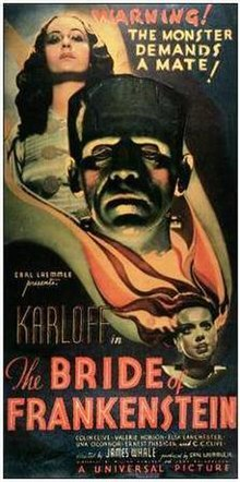 "Movie poster with the head of Frankenstein's monster at the center, looking forward with a somber expression. Elevated above him is a woman looking down towards the center of the image. Near the bottom of the image is the Bride of Frankenstein, looking off to the right of the image as her hair surrounds the head of Frankenstein's monster and the body of the woman. Text at the top of the image states ""Warning! The Monster Demands a Mate!"" The bottom of the image includes the film's title and credits."