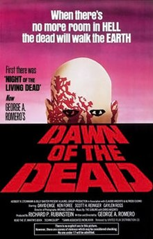"Painted theatrical release that includes various credits, an ominous zombie looking over the horizon, and the words ""Dawn of the Dead"" in military print below."