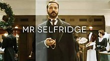 Series titles over an image of Selfridge in his store
