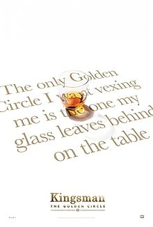 "A glass of whsikey with the slogan ""The only Golden Circle I want vexing me is the one my glass leaves behind on the table"""