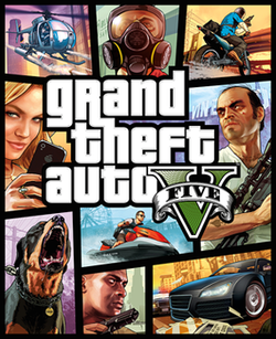 "The game's cover art. The text ""gRand theFt auto V"" is in the centre، with the text ""FIVE"" written on a banner wrapped around the Roman numeral ""V""."