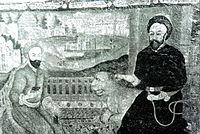 تصویر نقاشیشده شیخ بهایی و ابوالقاسم میرفندرسکی (حکیم استرآباد) در تکیه میر