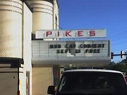 The Pikes Theater, one of Pikesville's historic landmarks. Currently, a theater-themed diner occupies the building.