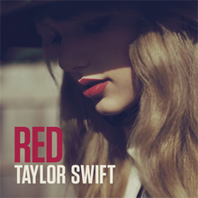The cover image features face of Taylor Swift in red lips wearing a long brimmed hat. On the bottom-left title of album appears.