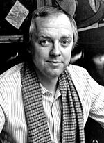 Black and white photo of Tim Rice in 1981.