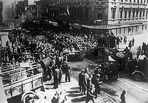 Prague liberation 1945 tanks barricades.jpg