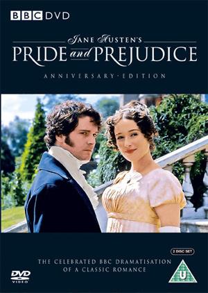 Jennifer Ehle (Elizabeth Bennet) ja Colin Firth (Fitzwilliam Darcy)(DVD:n kansi)