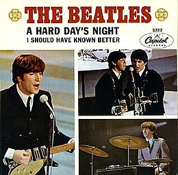 "Singlen ""A Hard Day's Night"" kansikuva"