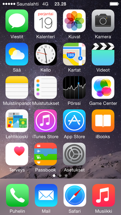 iOS 8.0 iPhone 5S:llä