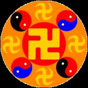 """Falun Gongin tunnus on Falun eli """"Lakipyörä""""."""
