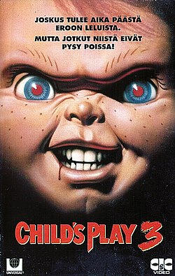 Child's Play 3 -elokuvan suomalainen VHS-kansi.