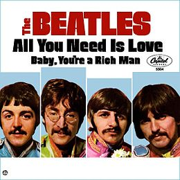 "Singlen ""All You Need Is Love"" kansikuva"