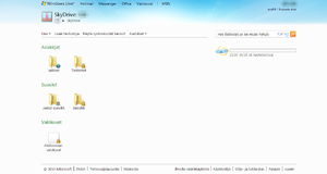 Windows Live SkyDriven aloitussivu.