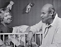 Pentti Siimes ja Spede Pasanen Spede Show -ohjelmassa vuonna 1973.