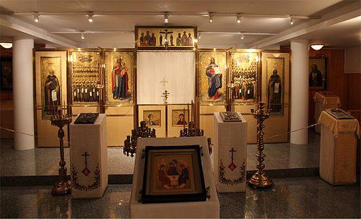 Ortodoksisen kirkkomuseon kirkkosali eli Arkkipiispan kotikirkko eli Pyhän apostoli Johannes Teologin ja Karjalan Valistajien kirkko (5/2015).