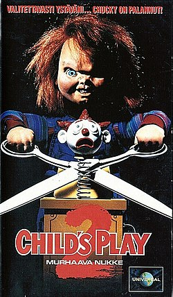 Child's Play 2 -elokuvan suomalainen VHS-kansi.