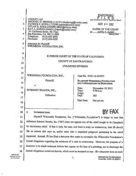 File:WMF Plaintiff's Opposition to IB Demurrer.pdf