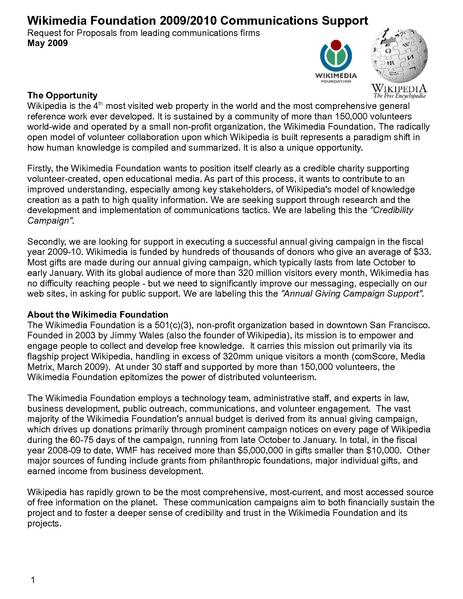 File:Wikimedia comms campaigns RFP May 2009 Final.pdf