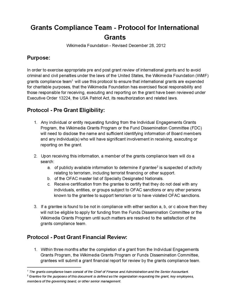 Grants Compliance Team-Protocol for International Grants