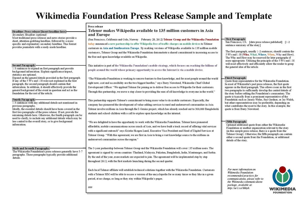 FileWmf Press Release Template SamplePdf  Wikimedia Foundation